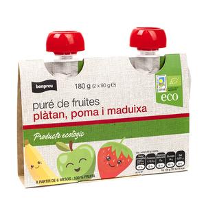 BONPREU Puré de plàtan, poma i maduixa eco