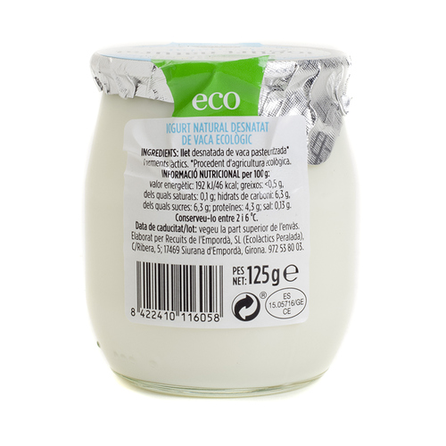 TERRA I TAST Iogurt natural desnatat ecològic