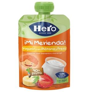 HERO Postre de iogurt, plàtan i maduixa