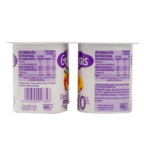 GERVAIS Iogurt desnatat de préssec amb trossos
