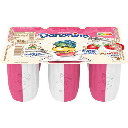 DANONINO Iogurt duo de maduixes natural ensucrat